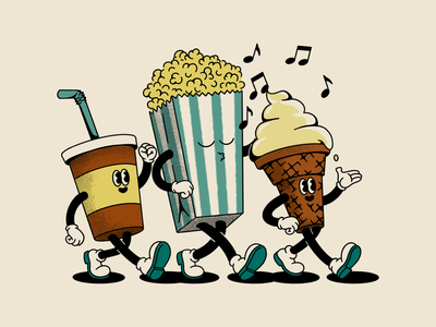 Grand Berry Theater Snacks apparel design shirt design tshirt texture procreate ice cream soda popcorn theater grand berry movies snacks trust printshop illustration illustrator fort worth design