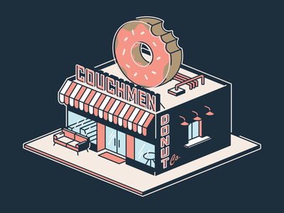 Couchmen Isometric Donut Shop couch apparel design building isometric illustration drum and bugle corps couchmen donut shop isometric grid trust printshop illustration illustrator fort worth design