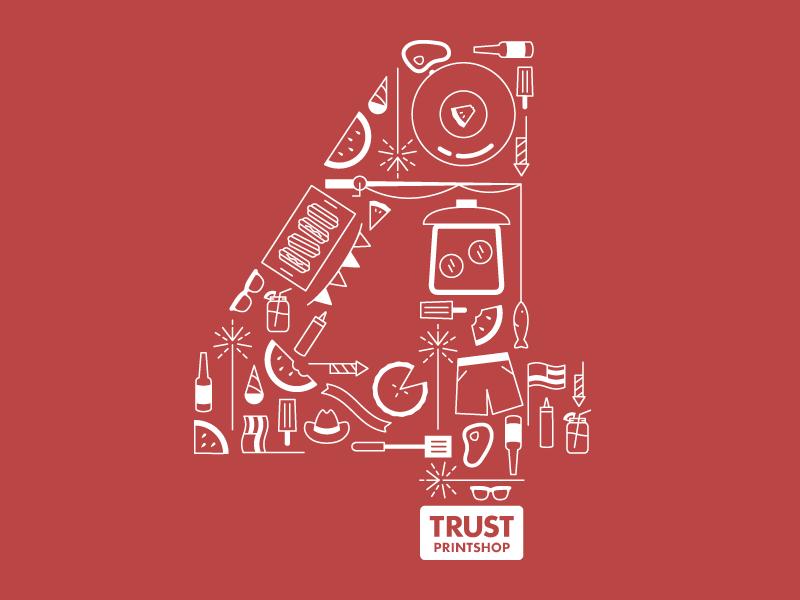 4th of July Tee trust printshop t-shirt design screen printing illustrator illustration icon 4th of july apparel design