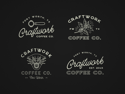 Craftwork Coffee Co fort worth panther city panther portafilter coffee cherry coffee craftwork badge vector logo icon tshirt design design type illustration apparel design typography illustrator