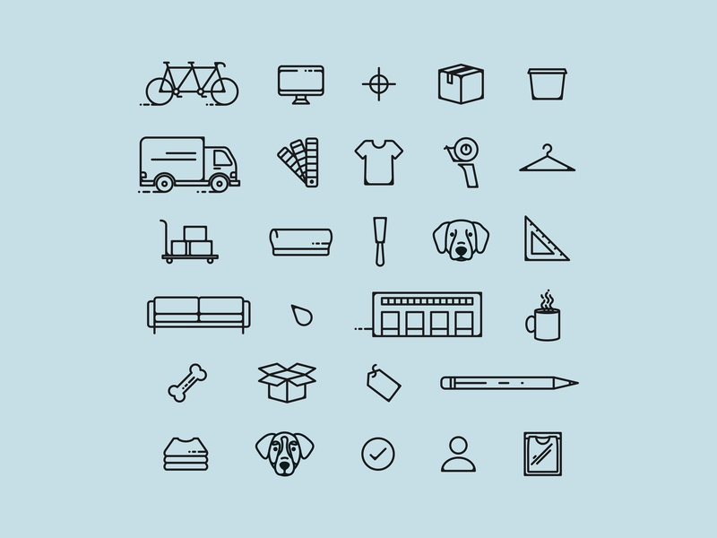 Trust Printshop Icon Set building bicycle dogs box truck screen printing printing packing shirts icon pack icon set icons branding and identity rebrand branding icon vector fort worth trust printshop illustrator design