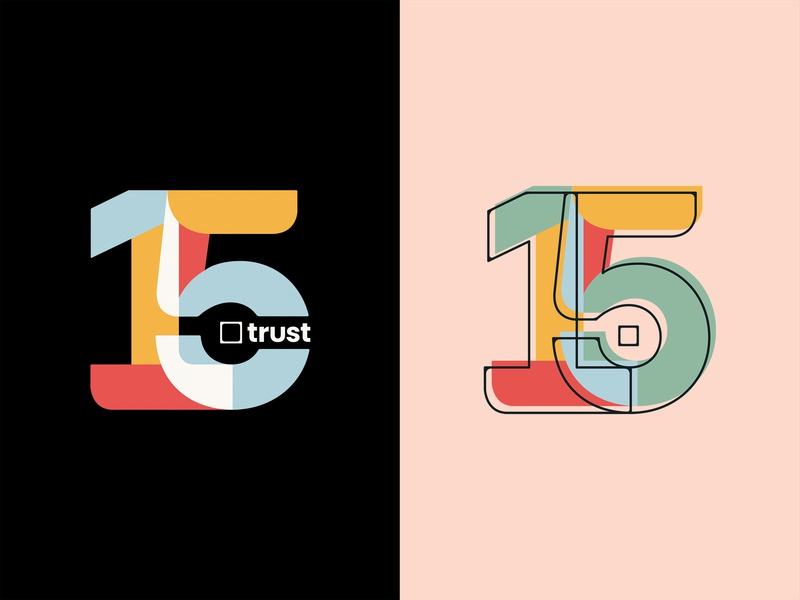 Trust Printshop 15 Year Anniversary geometric numbers anniversary 15 trust vector fort worth type typography tshirt design trust printshop apparel design illustration illustrator design