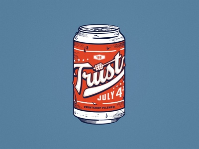 Trust Printshop 4th of July retrosupplyco patriotic beer can beer independence day 4th of july trust fort worth typography type tshirt design trust printshop apparel design illustration illustrator design