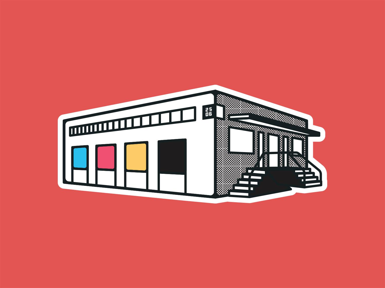 Trust Printshop Building Sticker cmyk stickers building icon branding trust vector fort worth trust printshop illustration illustrator design