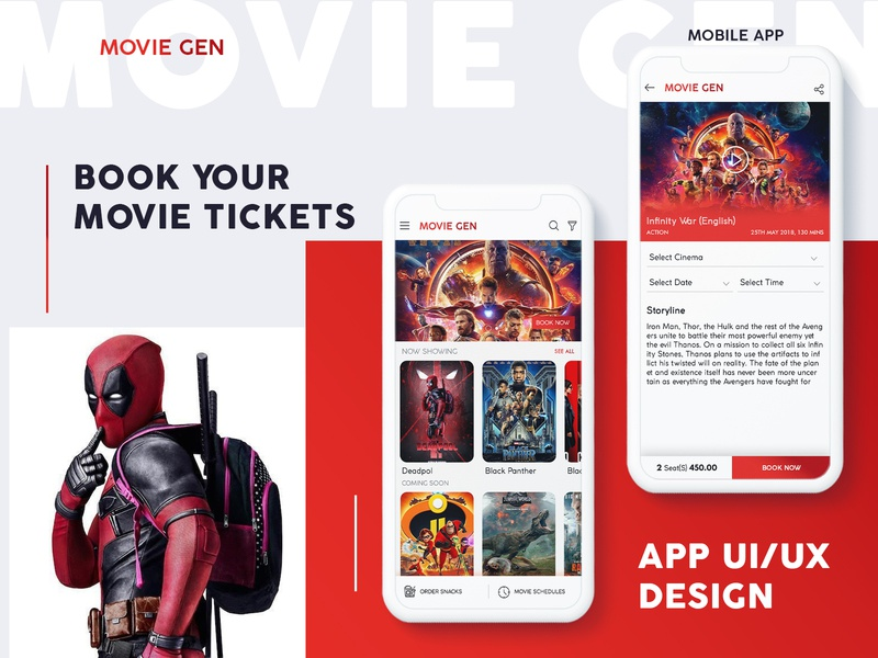 Movie Tickets Booking App UI dailyui designer free vector red branding icon graphic design colors uiux new