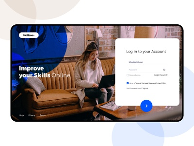 E Learning Login page education web design blue freelance product page study web ux design branding graphic ui illustration colors new