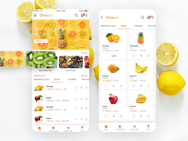 Fresh Fruit Ordering App illustration vector branding colors art ux ui mobile app ios interface food app ecommerce design delivery app delivery app