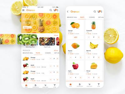 Fresh Fruit Ordering App illustration vector branding colors art ux ui mobile app ios interface food app ecommerce design delivery app delivery app