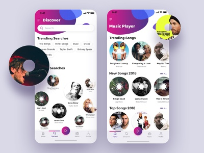 Music Player Mobile Design playlist art designer application mobile ui vector new colors music player music app uiux branding ios graphic design