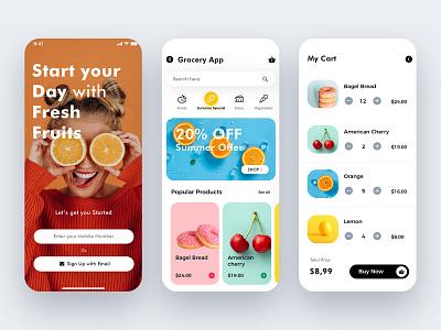 Grocery App UI/UX Design ux colors graphic ios illustration branding art design uiux minimal app design mobile app grocery app online shopping