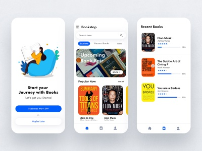 Book Reading App UI/UX vector illustration ui mockup branding graphic design ios app design app design mobile ui dribble uidesign uiux book reading