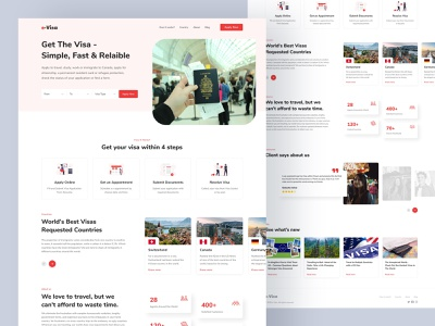 Immigration and Visa Agency - Web Landing Page Design mockup vector graphic illustration branding uiux color webdesigner design styleguide component modern illustraion web design landingpage