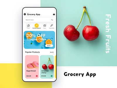 Grocery App UI/UX 2020 design trending dribbble designer work mobile app colors branding clean ui minimalist online shopping grocery app mockup graphic ux illustration ui uiux