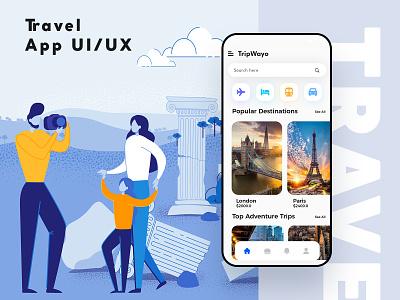 Travel App UI/UX trip planner travel ios ux vector ui design graphic mockup illustration branding uiux