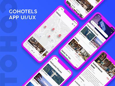 GOHotels App UI/UX Graphic Design Interaction Design trip ios icon graphic uiux new mockup blue font psd freepsd color