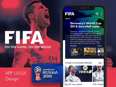 FIFA - World Cup 2018 App Concept colors font design. icon graphic red psd mockup free uiux app ui world cup2018 fifa