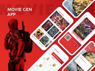 MoviesGen App psd iphone new image red mockup trending icon colors graphics design uiux