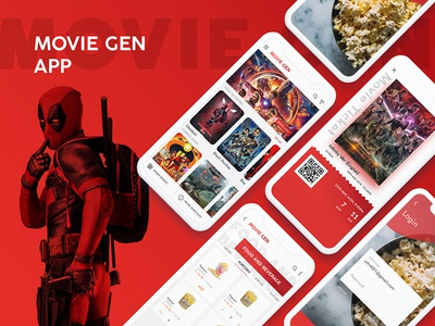 MoviesGen App psd iphone new image red mockup trending icon colors graphics design uiux