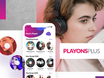 Music Player App UI/UX Design PLAYONSPLUS ios mockup red design vector new branding uiux logo free psd illustration 2019 design trend graphicdesign top colors ux uidesign player music app