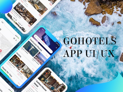 GOHotels App UI/UX Graphic Design Interaction Design typography dribbble psd vector creative branding blue trip hotel app ui logo new free ios 2019 design trend colors design graphic mockup uiux