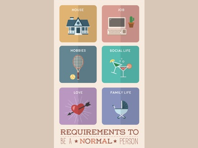 Requirements movie love poster hobbie job flat vectorial home house illustration design icons icon