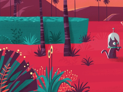 Greetings from Mars palms future retro mars ilustración vectorial characters illustration