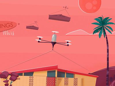 Mars II dron palms future retro mars ilustración vectorial characters illustration