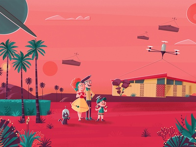 Mars III We Transfer background 50s family palms future retro mars ilustración vectorial characters illustration