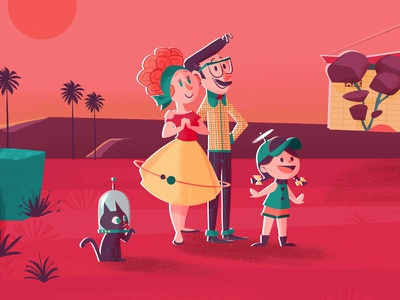 Mars IV, closer detail 50s family palms future retro mars ilustración vectorial characters illustration
