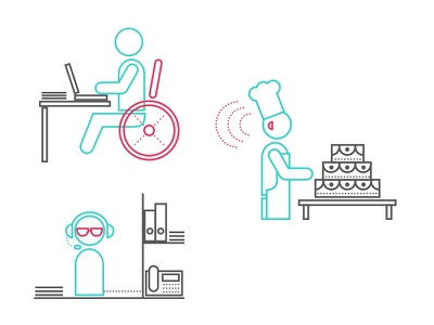 Disabled people wheelchair blind lines vectorial vector ilustración illustration icons disabled