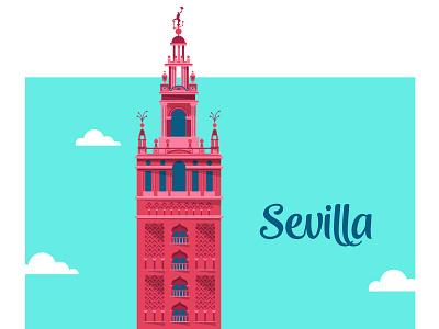 Sevilla giralda retro españa spain ilustración vectorial sevilla illustration