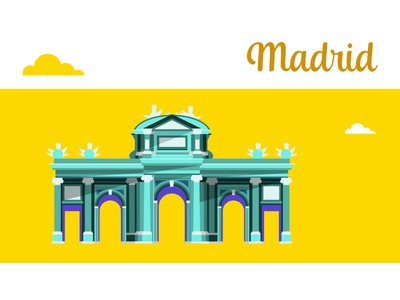 Madrid puerta de alcalá spain icon flat vectorial illustration madrid city