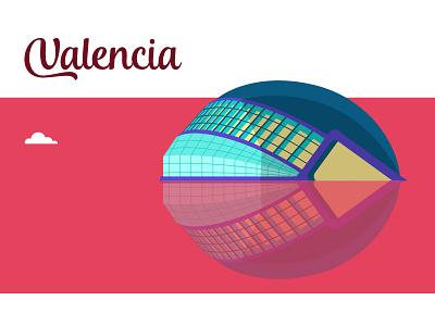 Valencia oceanografic spain icon flat vectorial illustration valencia city