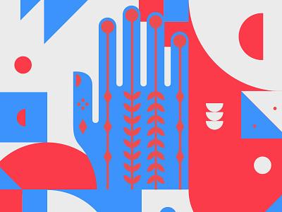 Shape study with blue hand shapes design illustration cesar contreras