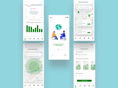 Eco app for IBM's creative jam challenge chart recycle user interface design uxui user interface ui mobile app product design minimal map illustration humaaans green app eco friendly eco drop shadow directions climate change climate app app design