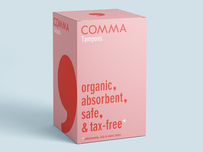 Comma Mockup2 pink logo branding grammar comma product tampon period