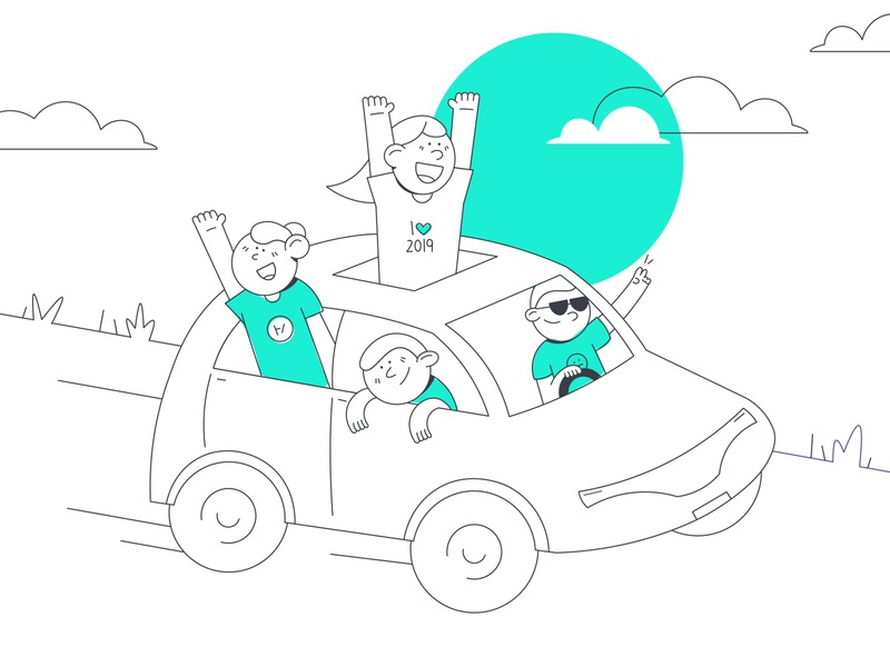 Adventure Van! friends fun illustration illustrator car person lineart line turquoise design flat adventure van