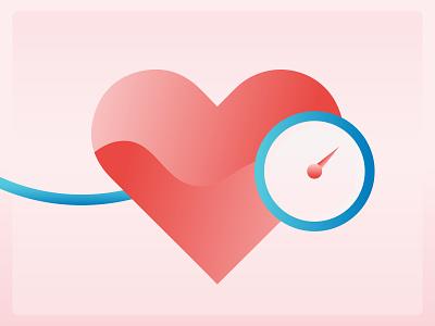 Hypertension gradient health doctor heart medical illustrator illustration flat design vector