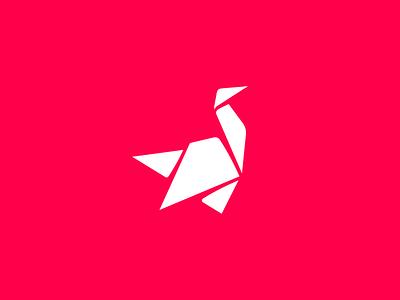 Upframe bold paper origami swan brand logomark mark logotype logo identity flat branding