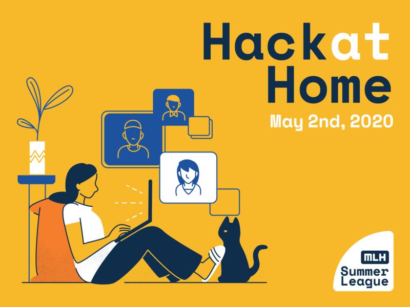 Hack at home cat human event branding design illustration adobe illustrator graphic  design