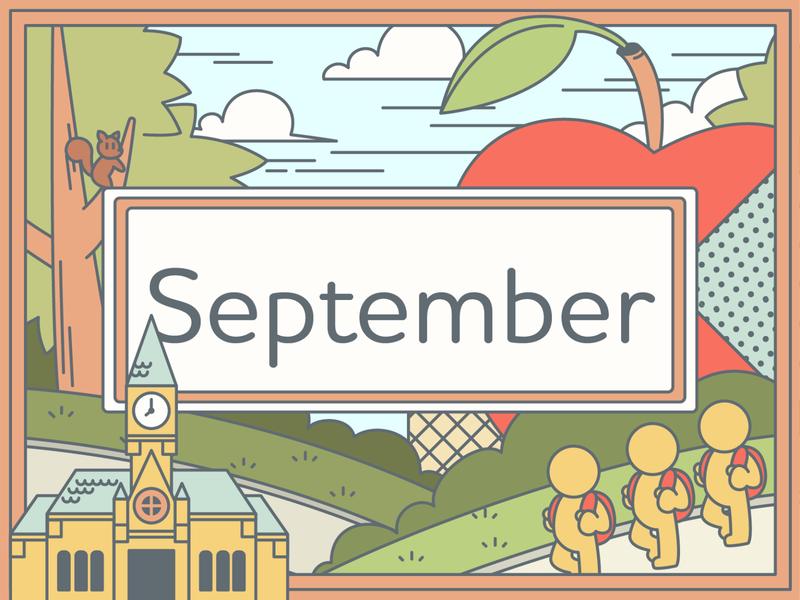 September graphic  design adobe illustrator illustration school trees apple september