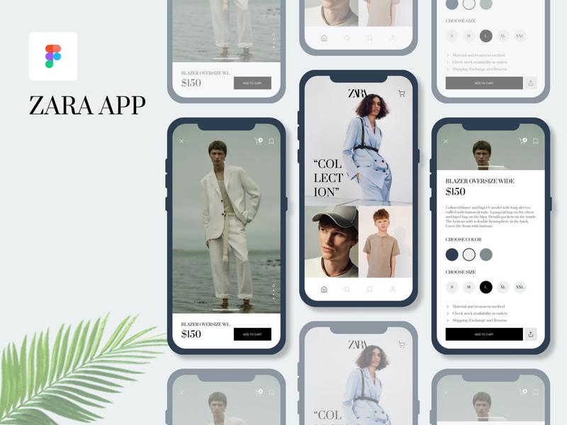 Zara App ReDesign vector app flat branding ux ui design