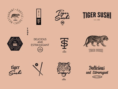 Tiger Sushi restaurant  type concept graphic design oriental japan shusi food tiger