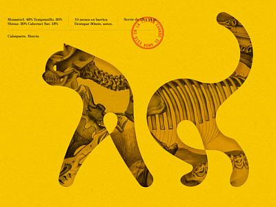 Gatusa Montaje Grande spain yellow skull wine branding illustration cat