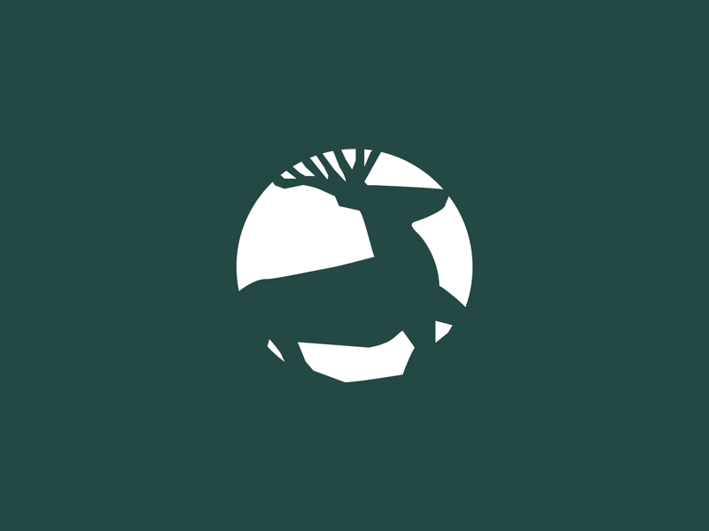 Deer brand icon logo identity branding symbol mark vacation lodge lifestyle doe deer