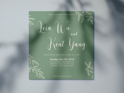 Save the date wedding invitation card - green nature