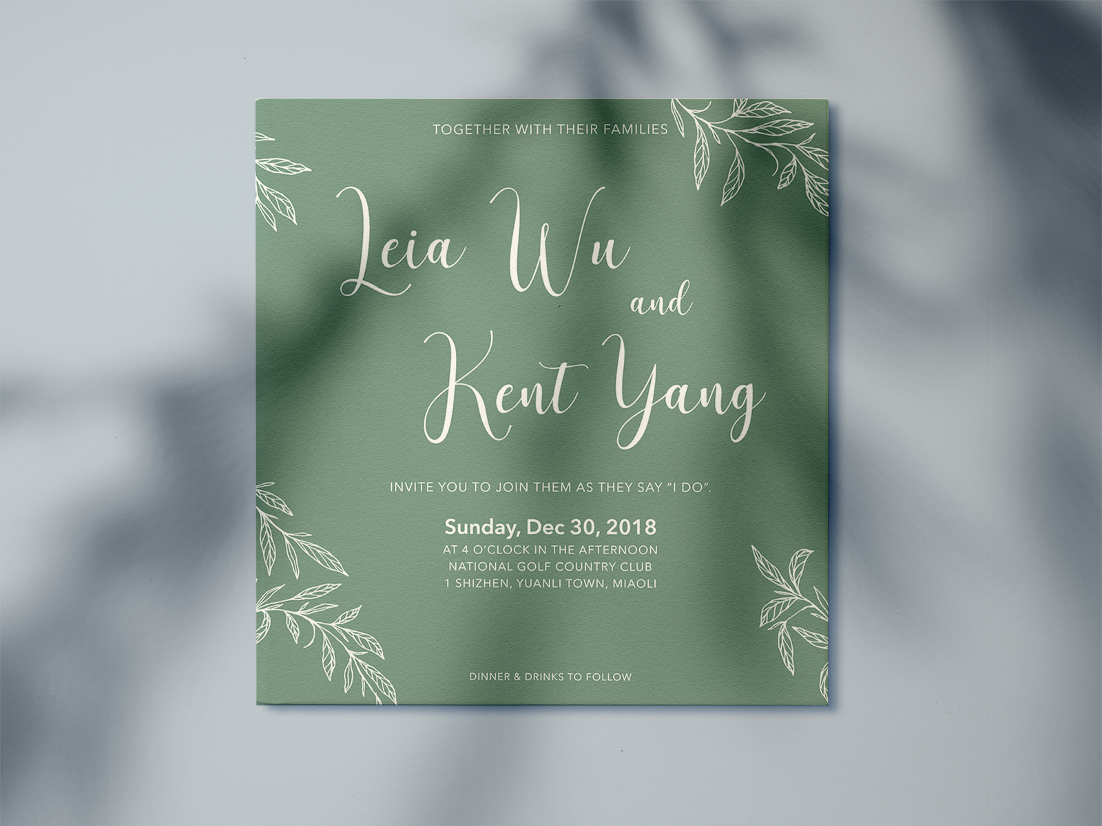 Save The Date Wedding Invitation Card Green Nature By