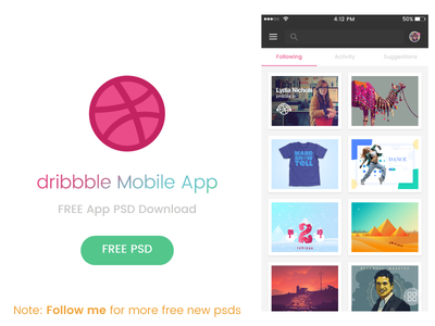 dribbble Mobile App - FREE PSD free download free android app psd free ios app psd psd dribbble mobile app free app psd dribbble