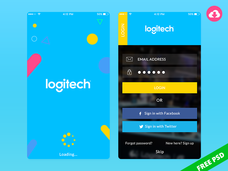 Free Mobile app psd design for Logitech android ios splash screen login free psd ui app logitech