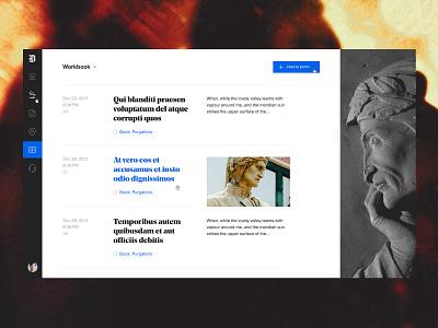 Dante — Desktop Workbook Entries webdesign reading education book dashboard ui dashboard web website desktop
